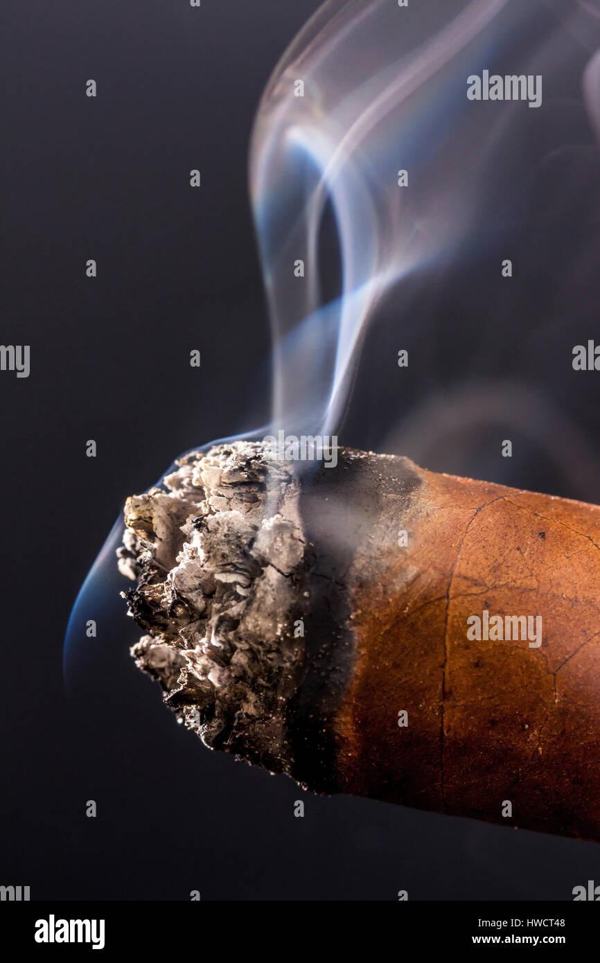 Smoking cigar. A symbolic photo for addiction and pleasure, Rauchende Zigarre. Ein Symbolfoto für Sucht und - Stock Image