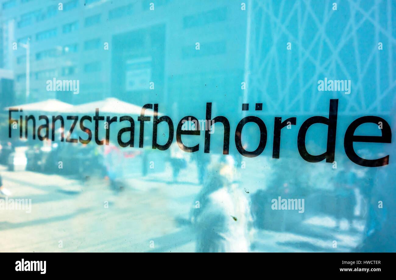 Sign in the building of the finance penal authority in Vienna, Schild am Gebäude der Finanzstrafbehörde in Wien Stock Photo
