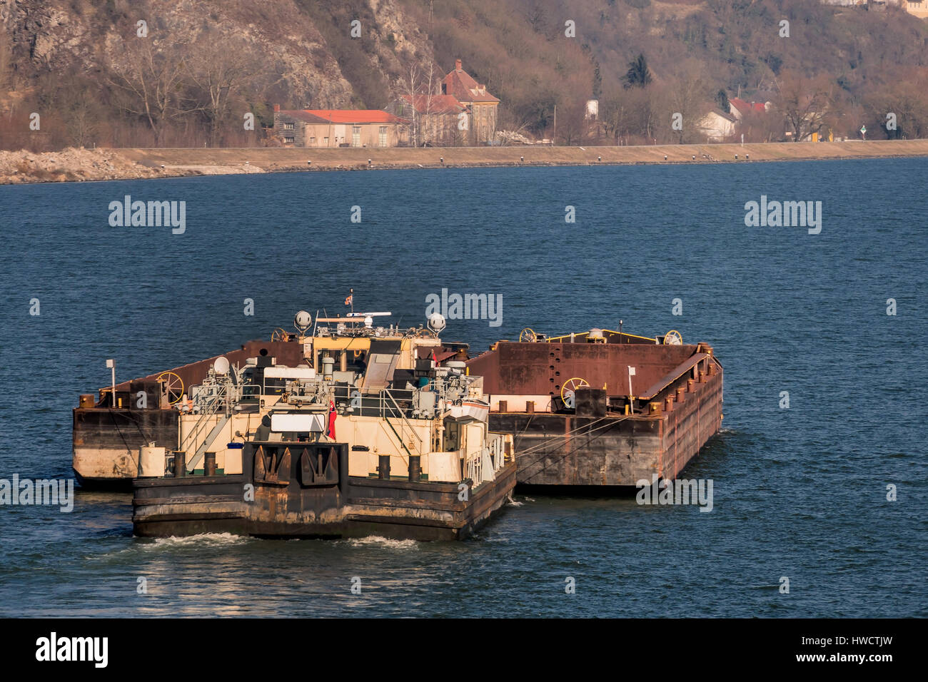 Freighter with bulk freight on the way, symbol for navigation, goods traffic, logistics, export, navigation, Frachter Stock Photo