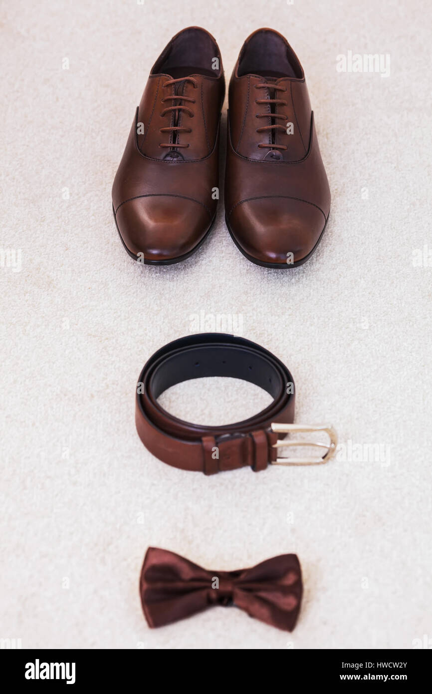 5bb3f1f47000 Brown leather men's shoes with belt, bow-tie. Set groom accessories ...