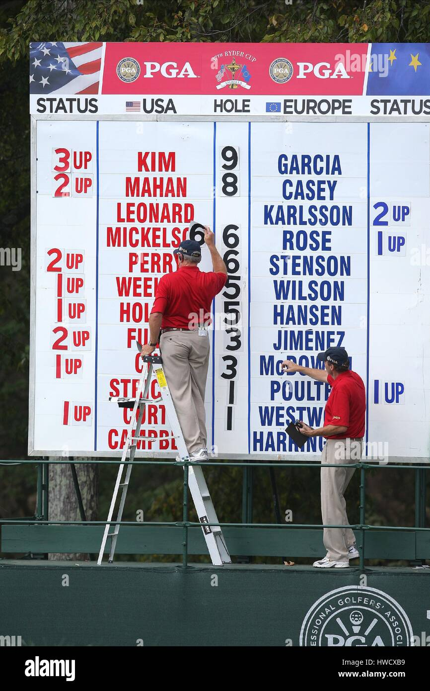 SINGLES SCOREBOARD 37TH RYDER CUP VALHALLA LOUISVILLE KENTUCKY USA 21 September 2008 - Stock Image
