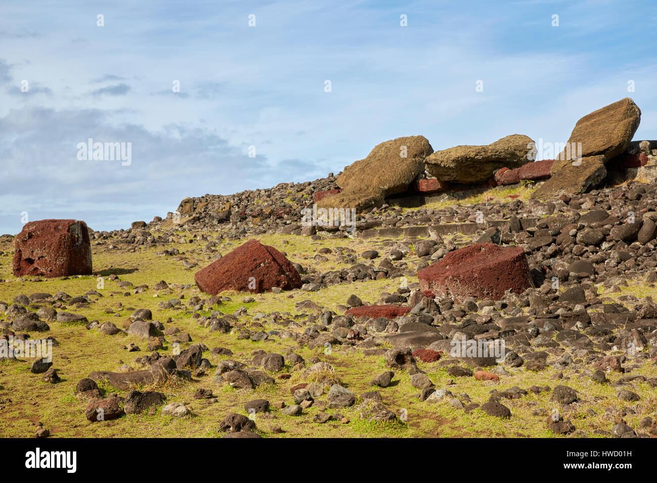 Ahu Akahanga, Moai, Rapa Nui, Easter Island, Isla de Pascua, Chile - Stock Image
