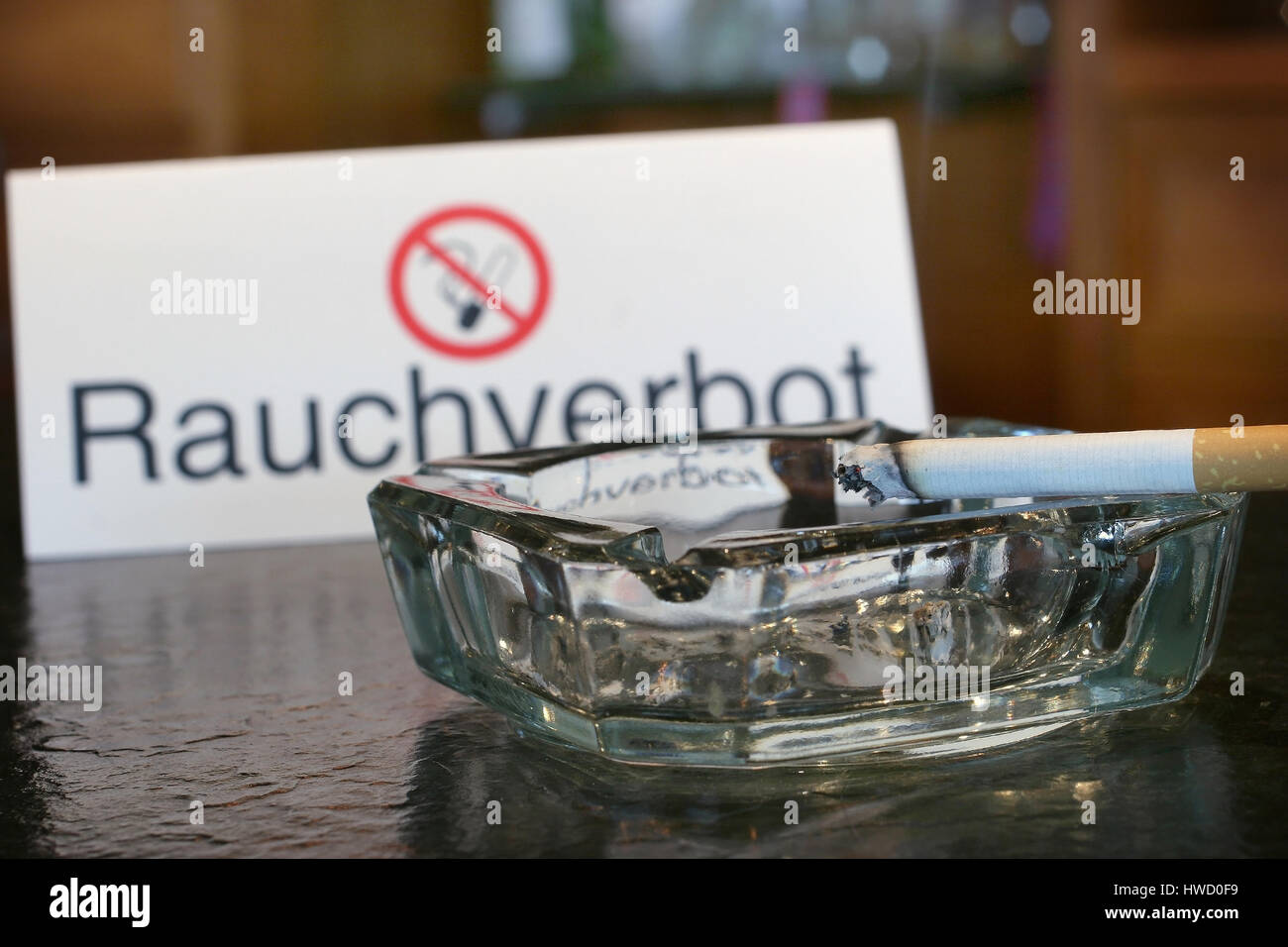 Ashtray and non-smoker's sign, ashtray, ashtray, container, container, things, vessel, vessels, vessel, vessels, - Stock Image