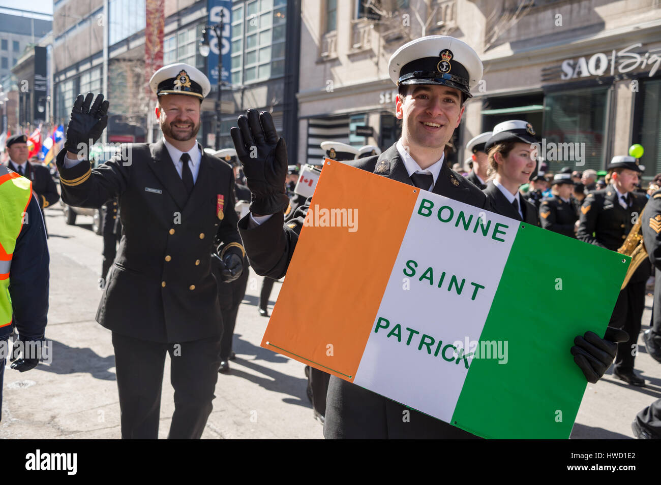 Montreal, Canada - 19 March 2017: Pilots at Montreal's St. Patrick's Day parade - Stock Image