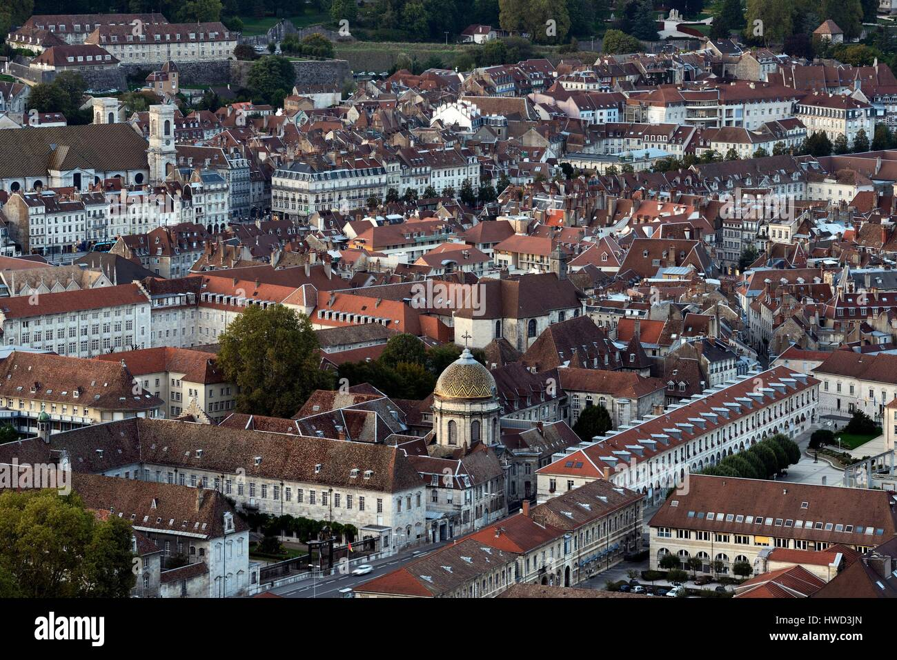France, Doubs, Besancon, old city, Sainte Madeleine church, Fort Griffon, Saint Jacques hospital and Notre Dame Stock Photo