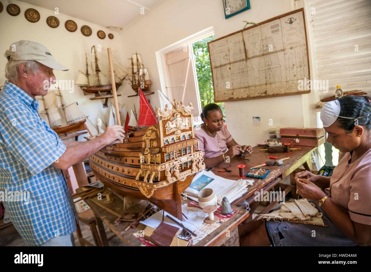 Seychelles, Mahe island, Le Cap, at the craft village, the expertise of La Marine's workshop of Jean-Louis MARCHESSEAU Stock Photo