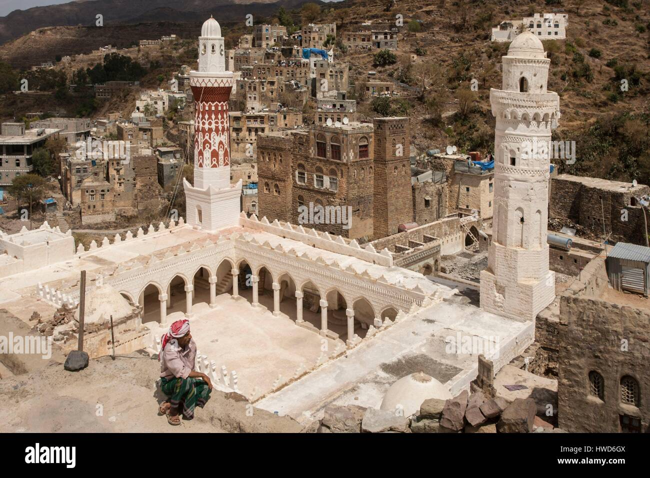 Yemen, the Great Mosque or the Queen Aroua Mosque in Jibla, Aroua reigned in the eleventh century - Stock Image