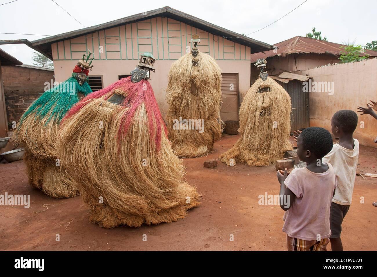 Benin, Zou Department, Abomey, Zangbeto is a mask covered with colorful raffia, Zangbeto represents nonhuman spirits, - Stock Image