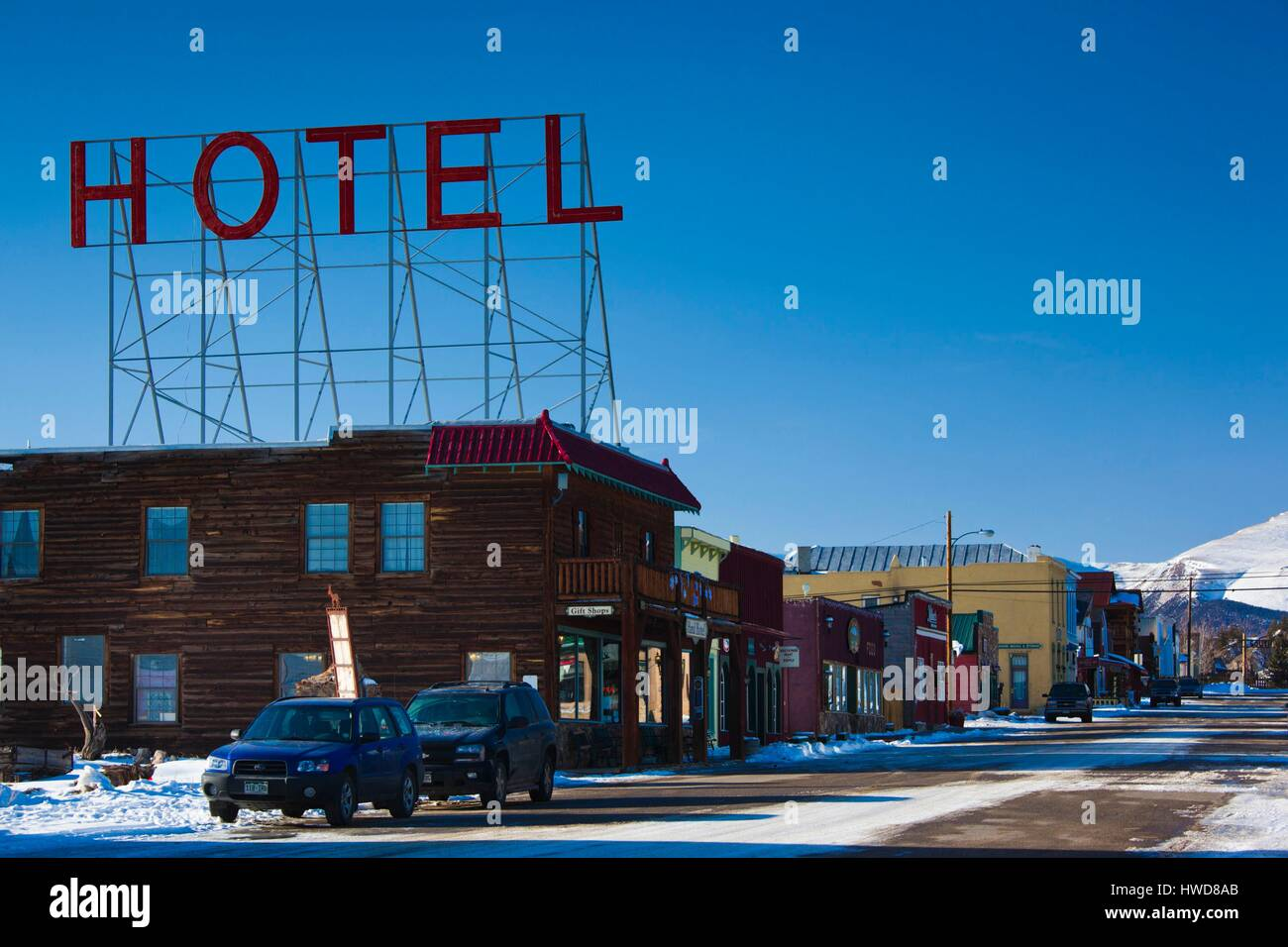 United States, Colorado, Fairplay, hotel sign - Stock Image