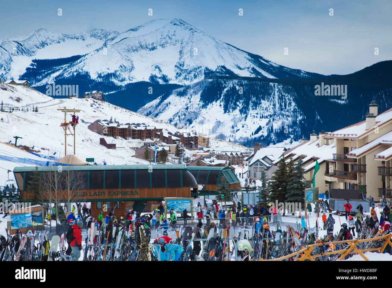 United States, Colorado, Crested Butte, Mount Crested Butte Ski Village, elevated view - Stock Image
