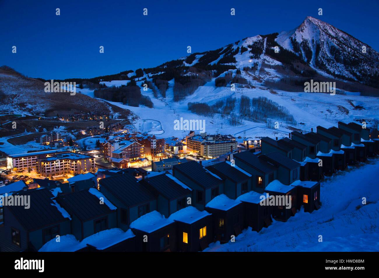 United States, Colorado, Crested Butte, Mount Crested Butte Ski Village, elevated view and Mount Crested Butte Mountain, - Stock Image