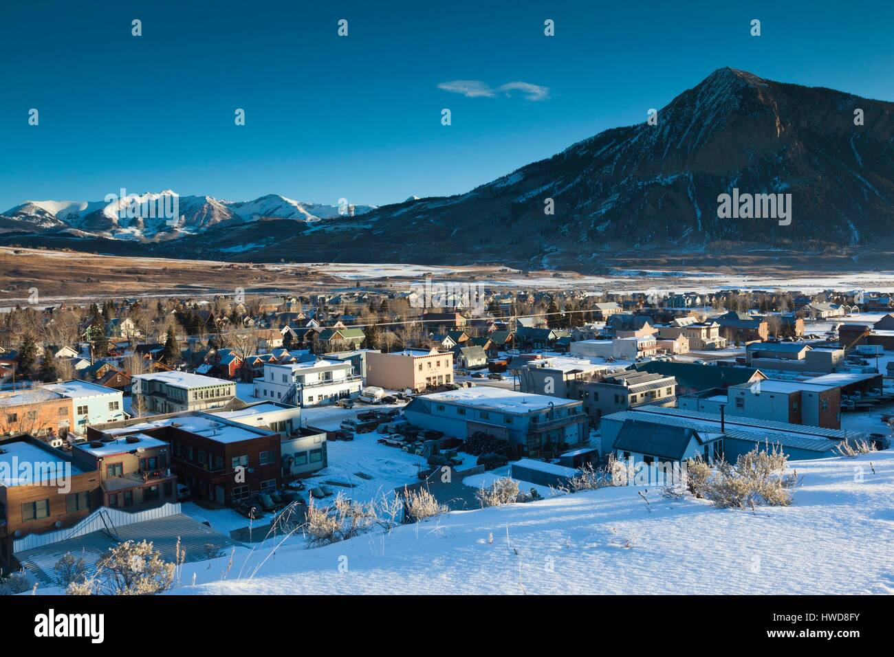 United States, Colorado, Crested Butte, elevated town view, with Mount Crested Butte, morning Stock Photo