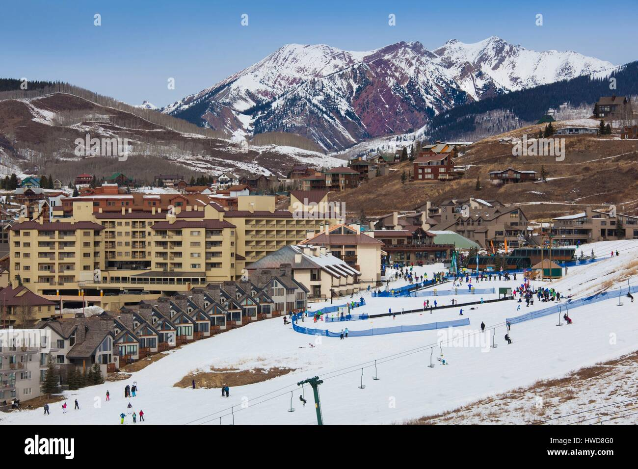 United States, Colorado, Crested Butte, Mount Crested Butte Ski Village, elevated view Stock Photo