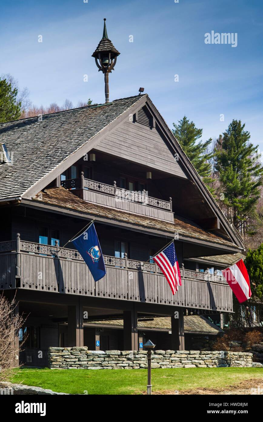 United States, Vermont, Stowe, Trapp Family Lodge, hotel owned by the von Trapp Family whose story was told in the - Stock Image