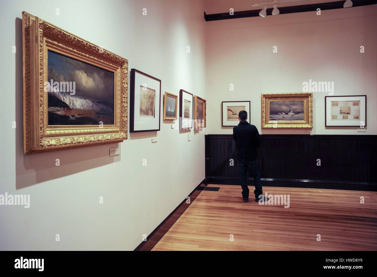 United States, Massachusetts, New Bedford, New Bedford Whaling Museum, paintings gallery Stock Photo