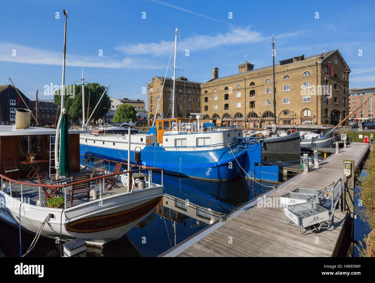 United Kingdom, London, Tower Hamlets district north of the Thames near Tower Bridge and the Tower of London, the - Stock Image