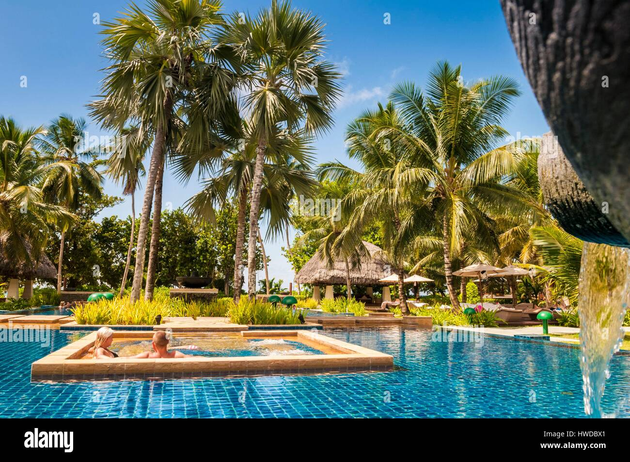seychelles silhouette island hilton seychelles labriz resort spa stock photo 136133705 alamy. Black Bedroom Furniture Sets. Home Design Ideas