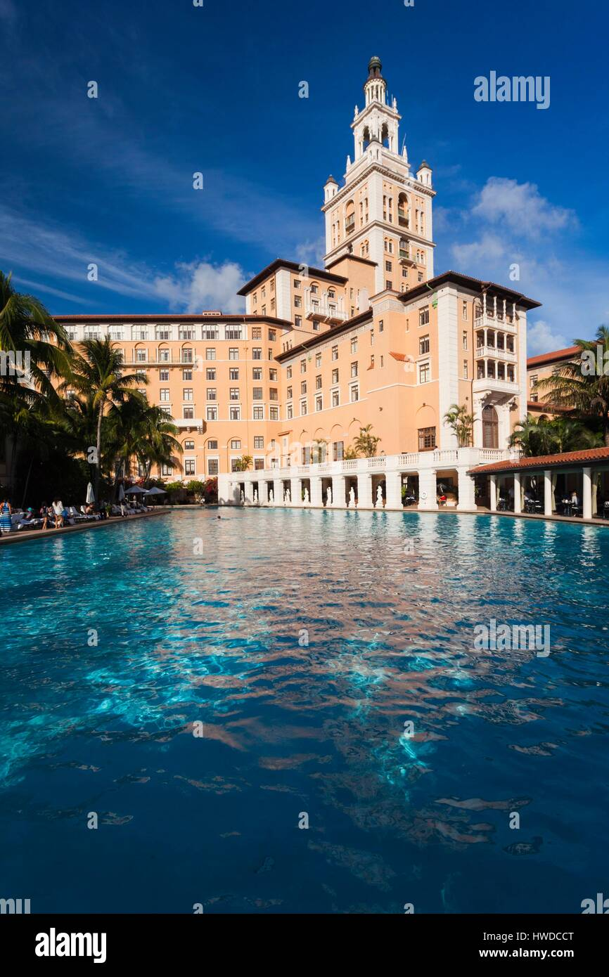 United States, Florida, Coral Gables, The Biltmore Hotel and swimming pool, largest hotel pool in the continental Stock Photo