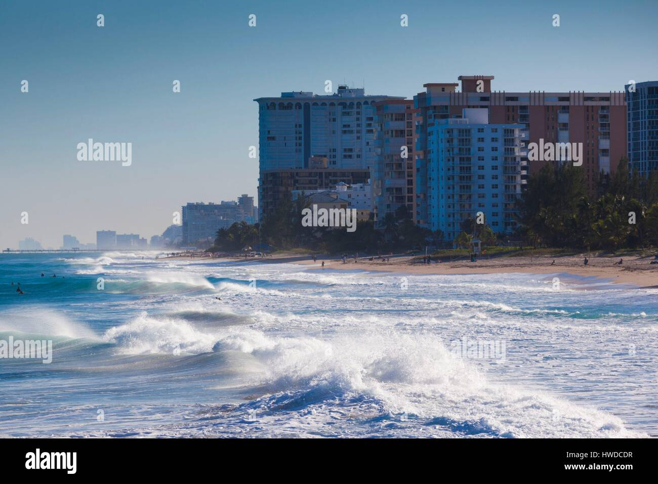 United States, Florida, Pompano Beach, beach view - Stock Image