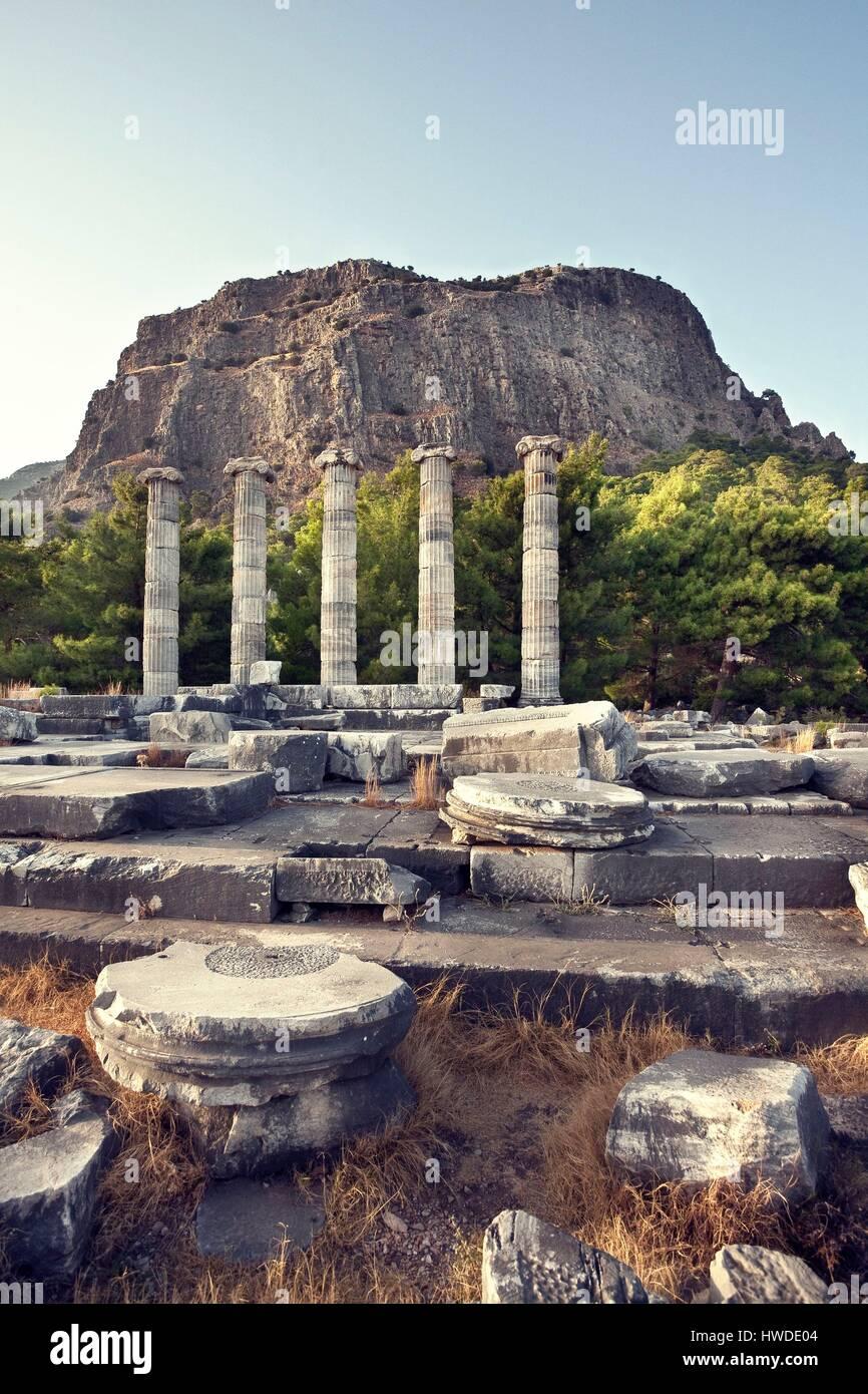 Turkey, Aegean Region, Aydin Province, Priene, Prien, Temple of Athena Stock Photo