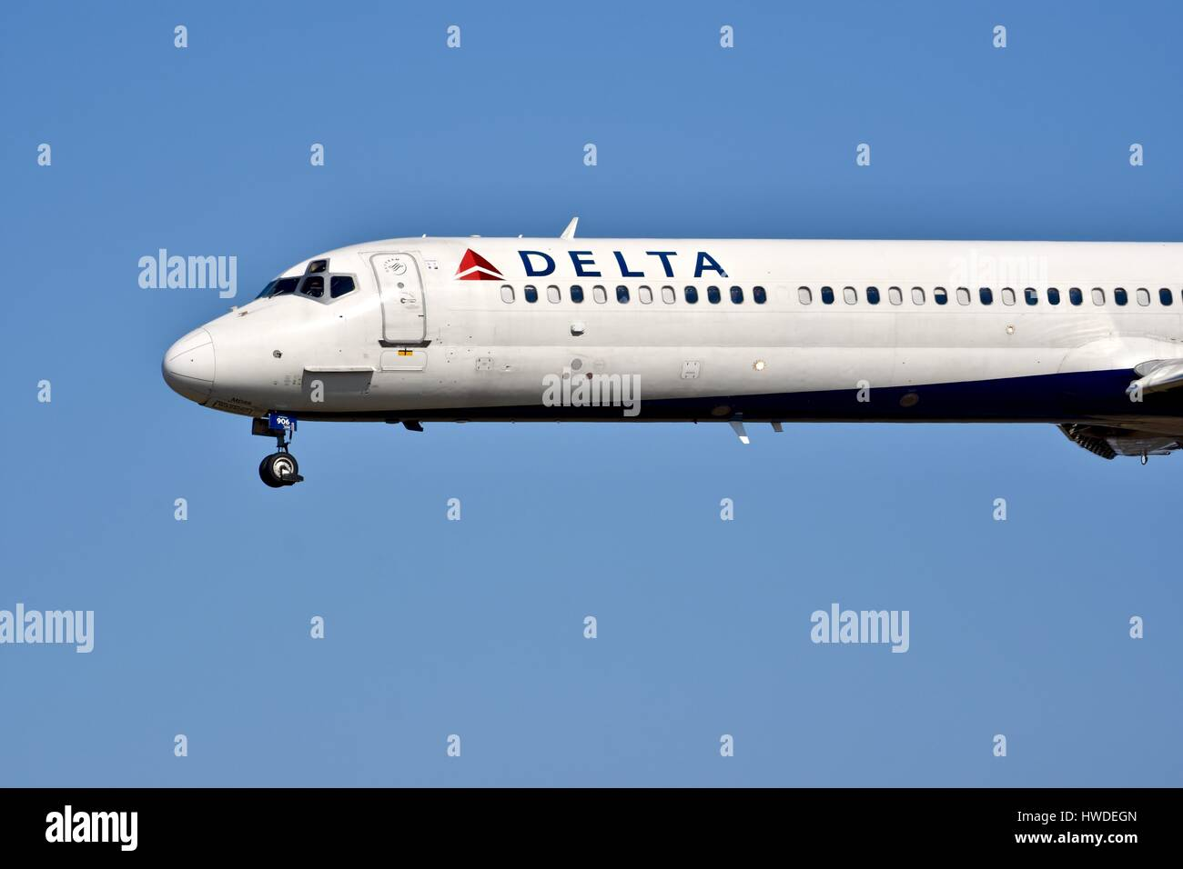 Delta Airlines commercial plane at the BWI airport - Stock Image