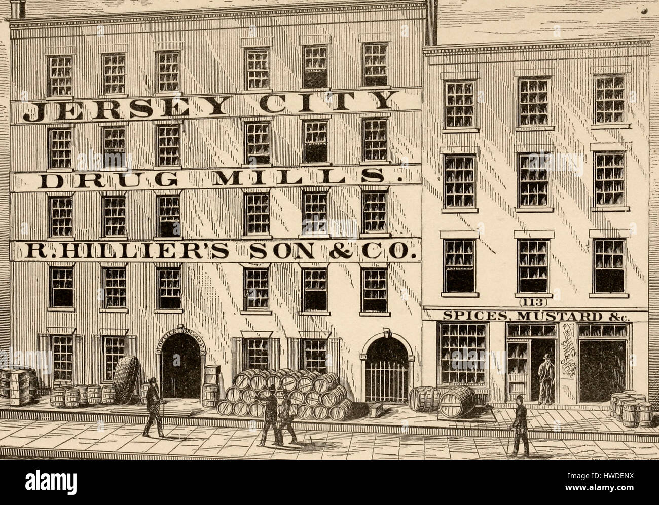 Jersey City Drug and Spice Mills, circa 1875 - Stock Image