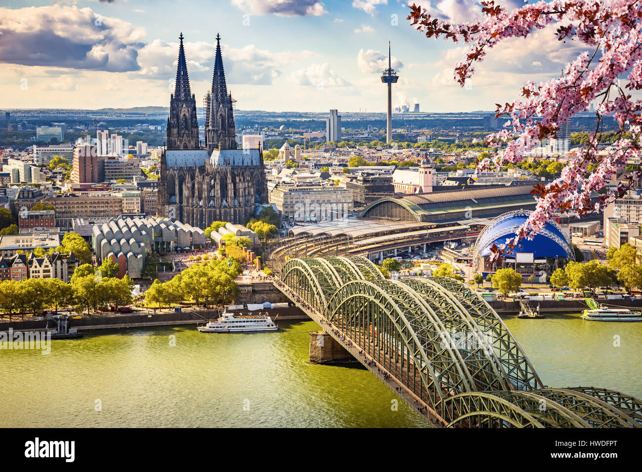 Aerial view of Cologne at spring - Stock Image