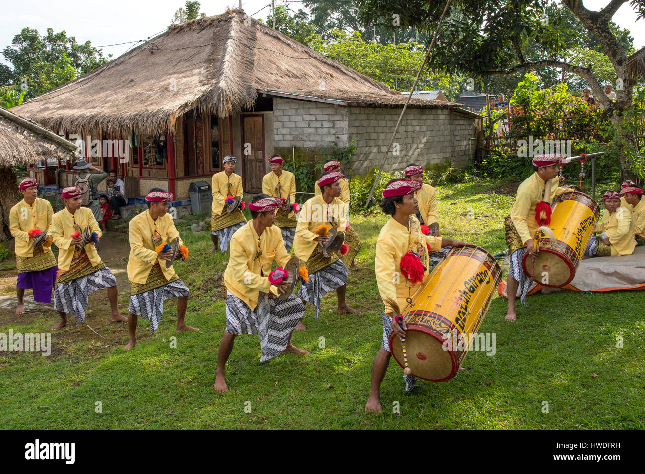 Welcome Dance and Music at Senaru, Lombok, Indonesia - Stock Image