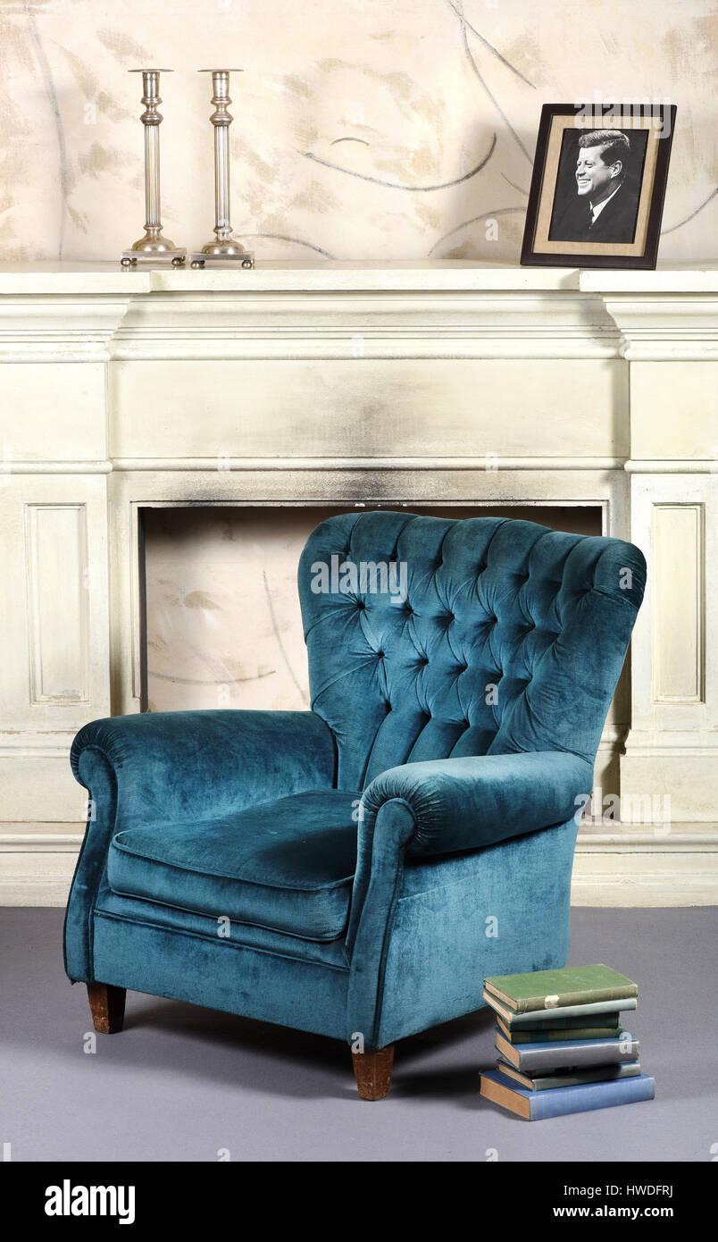 Blue Velvet Upholstered Vintage Armchair With High Padded