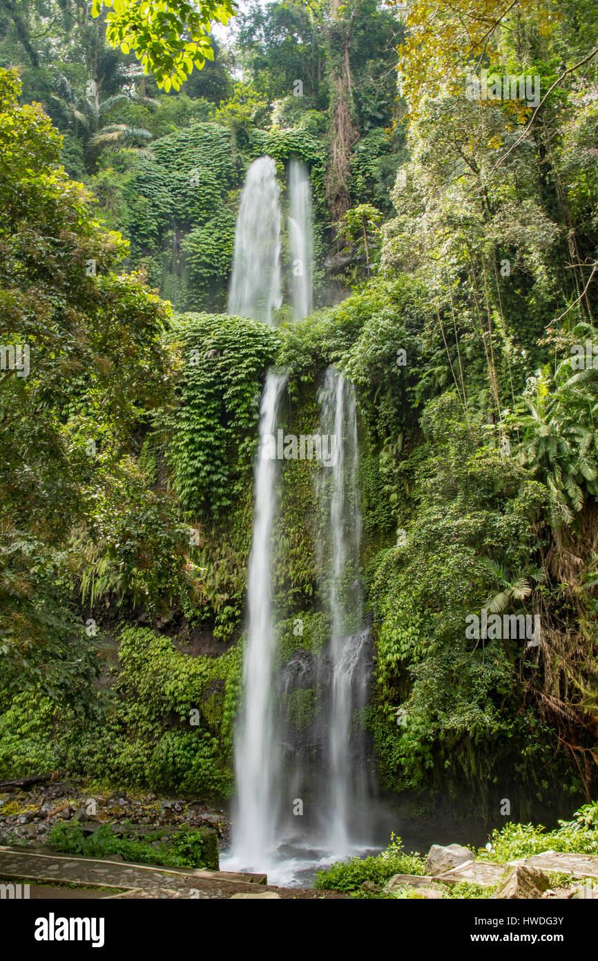 Sendang Gila Waterfall, Senaru, Lombok, Indonesia - Stock Image