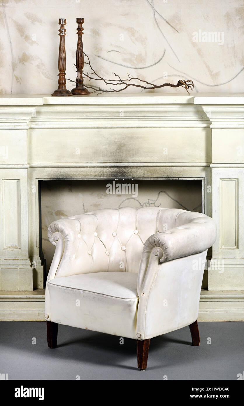 Leather Chair Fireplace Stock Photos Leather Chair Fireplace Stock