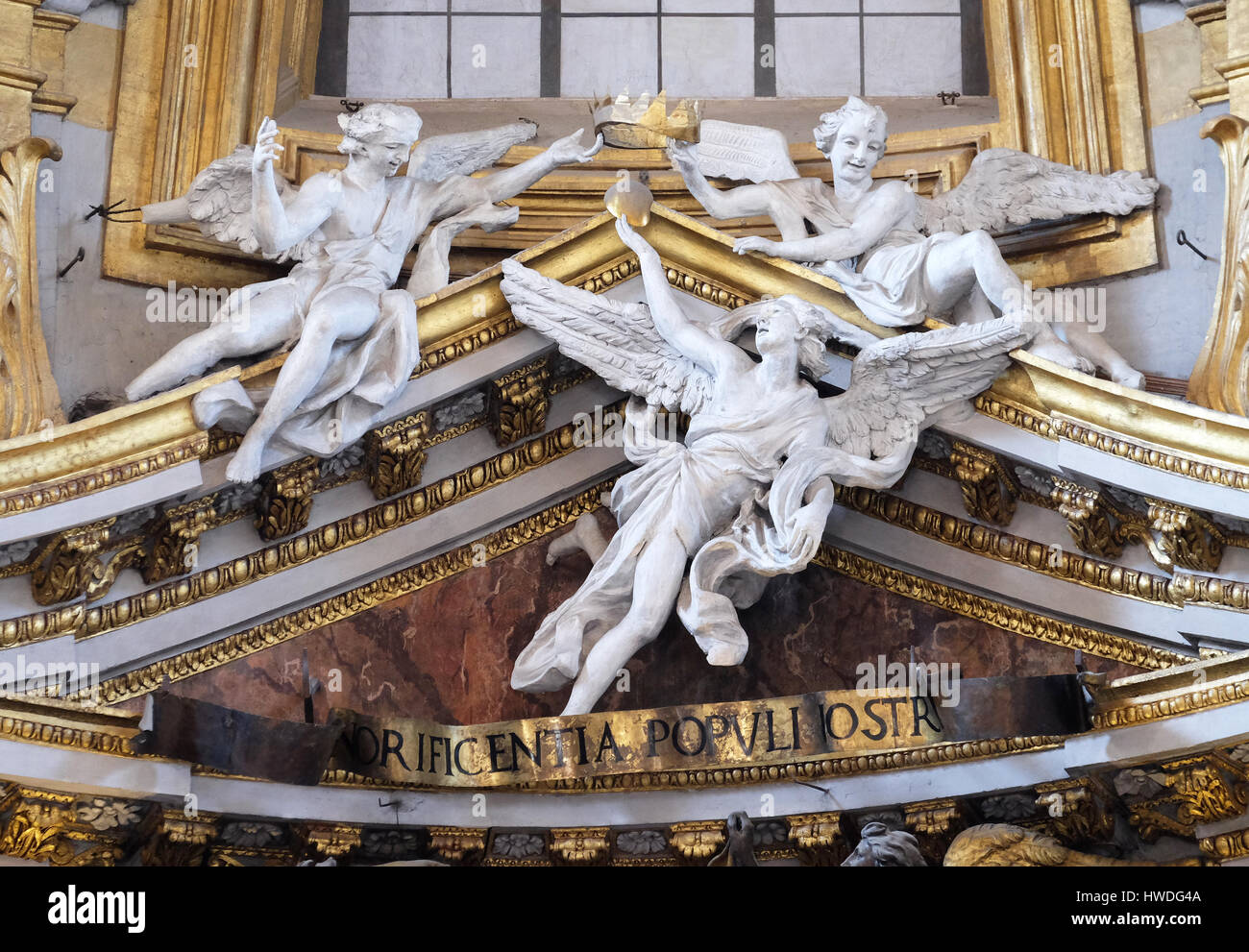 Angels in Basilica dei Santi Ambrogio e Carlo al Corso, Rome, Italy on September 03, 2016. Stock Photo