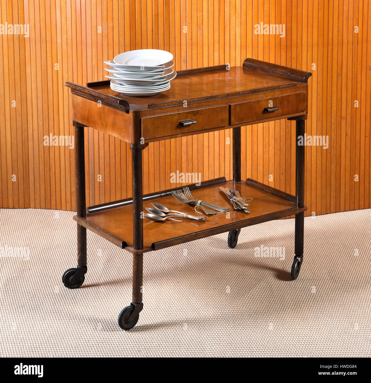 Best Vintage wooden server table or trolley with two drawers on wheels  NW39