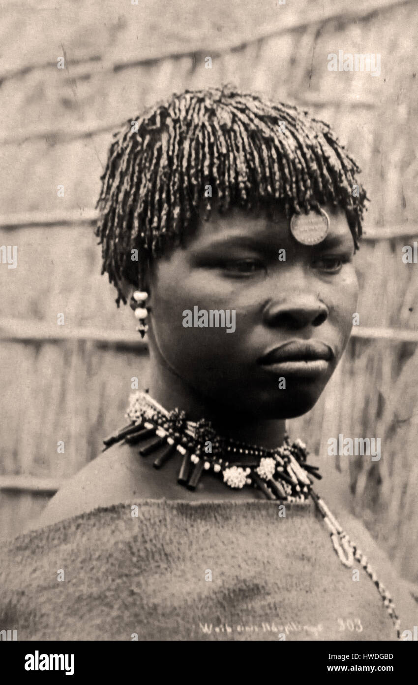 Girl with Curled Locks and Strings 1891 ( discrimination - racism ) South Africa African - Stock Image