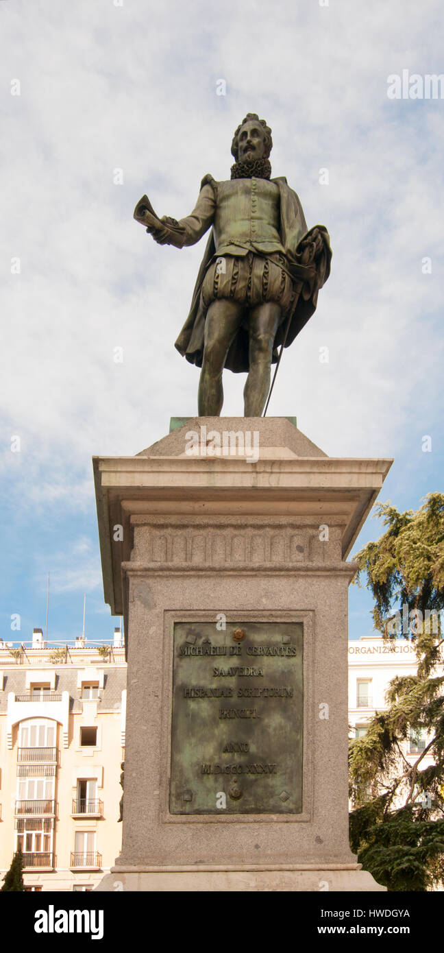 Miguel de Cervantes Saavedra's statue near the Spanish Congress of Deputies in Madrid, Spain - Stock Image