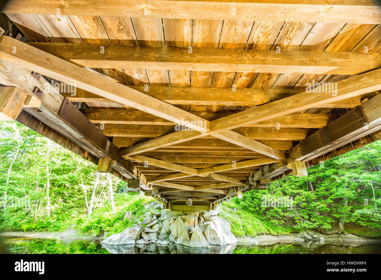 The Dalton Covered Bridge is a historic covered bridge that carries Joppa Road over the Warner River in Warner, Stock Photo