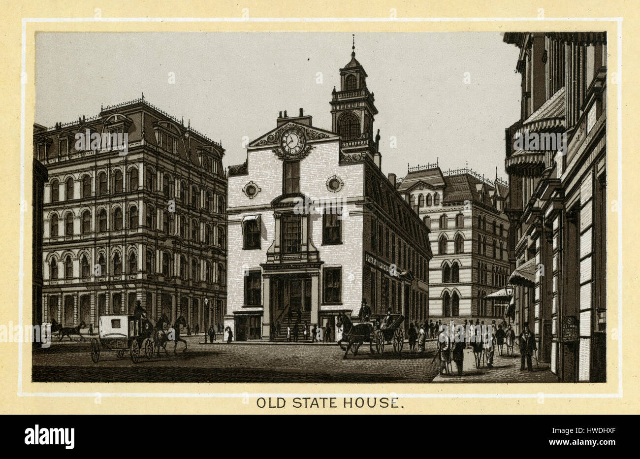 Antique 1883 monochromatic print from a souvenir album, showing the Old State House in Boston, Massachusetts. The - Stock Image