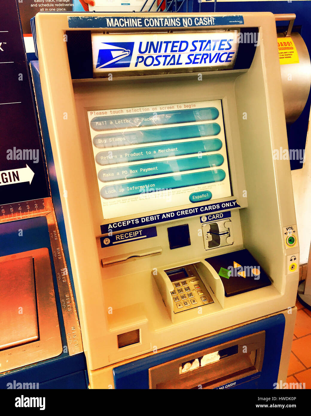 Automated Postal Center Kiosk, USPS, USA - Stock Image