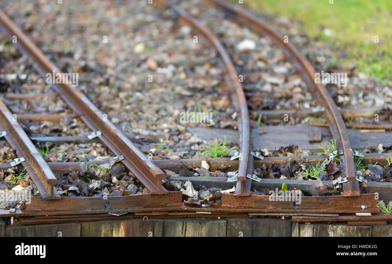 End of 2 railway tracks. - Stock Image
