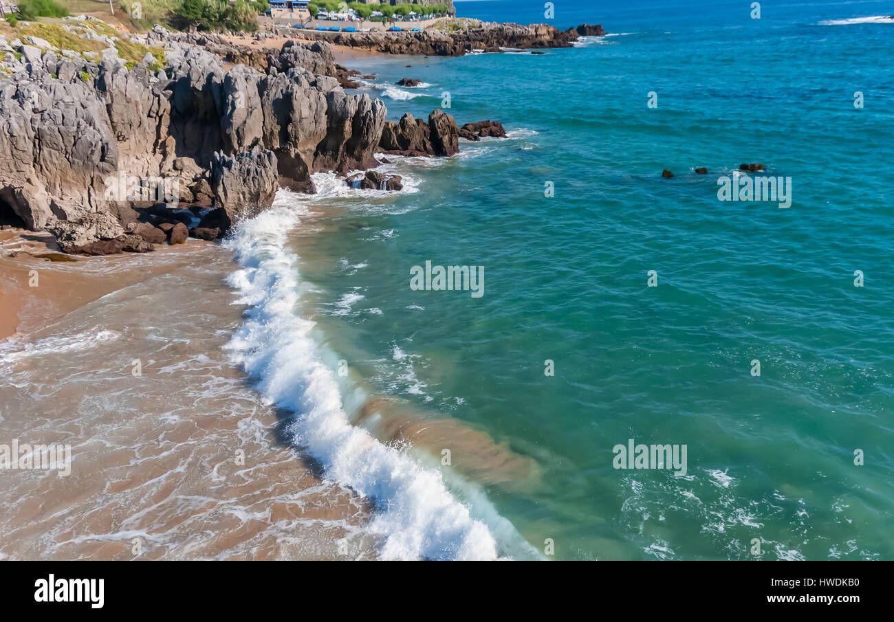 Waves Breaking on the Beach - Stock Image