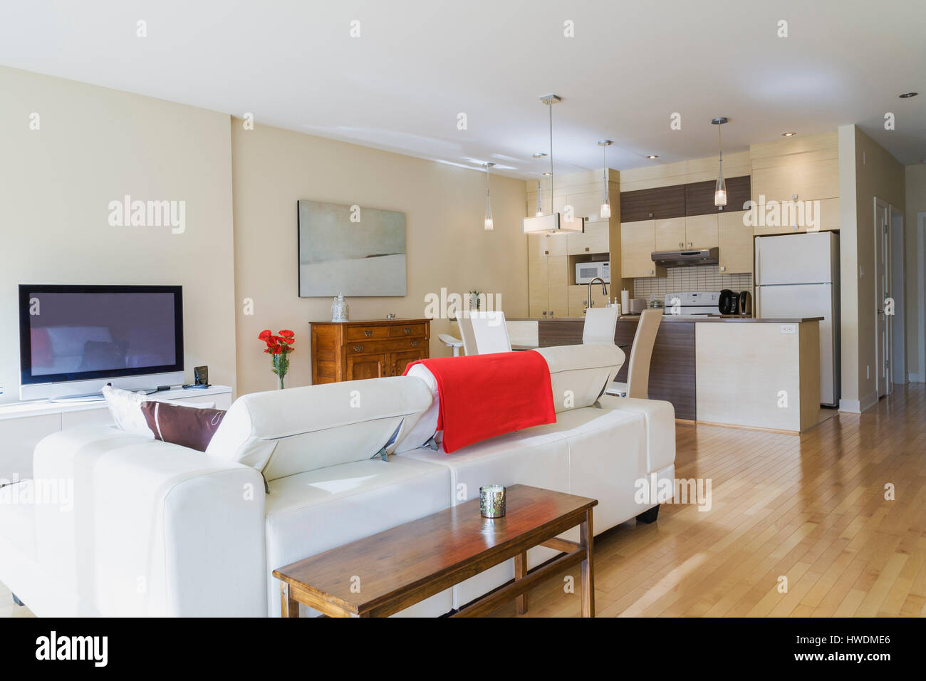 White leather sofa in living room and kitchen diner in renovated
