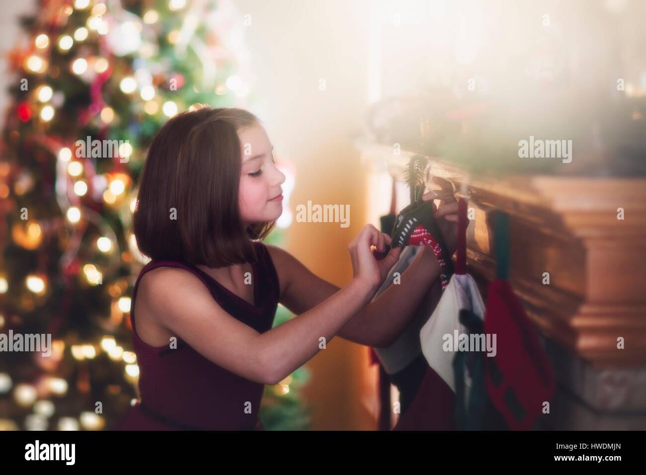 female child christmas stocking stock photos female child