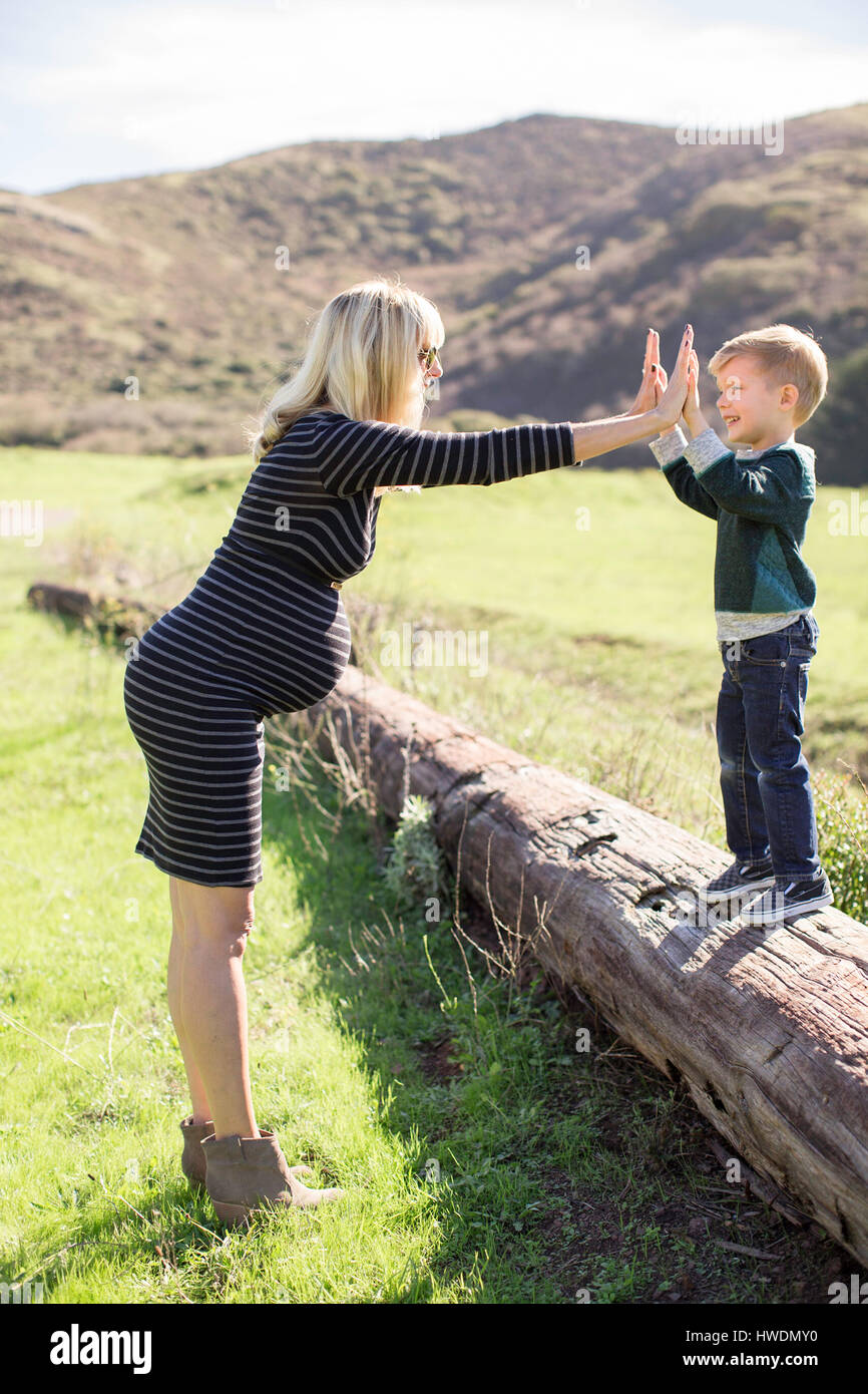 Mother and son enjoying day outdoors - Stock Image