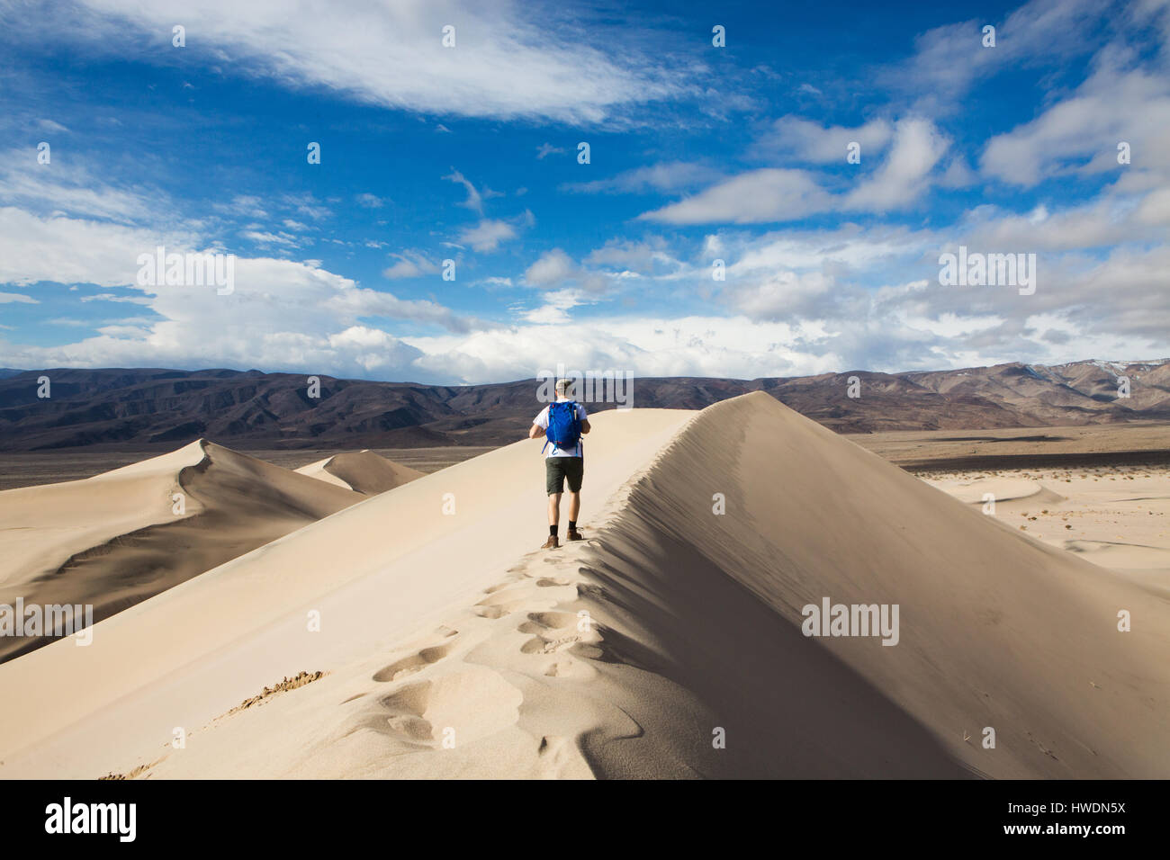 Trekker walking in Death Valley National Park, California, US - Stock Image