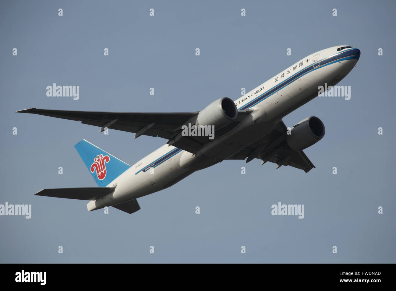 London Stansted Airport, 13 Mar 2017 - China Southern Cargo, Boeing 777, B-2071, departure - Stock Image