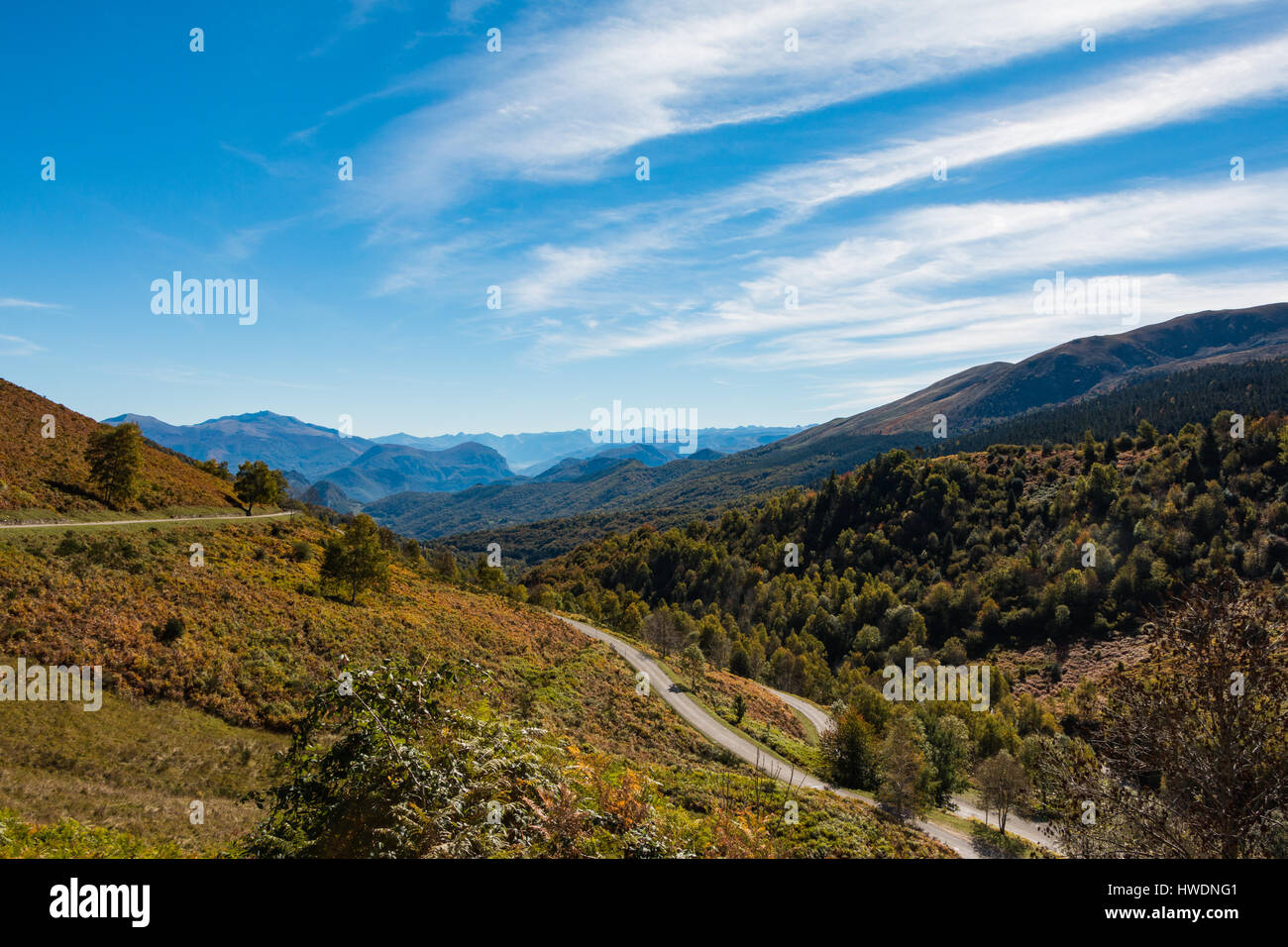 A winding scenic road in the Pyrenees in autumn Stock Photo
