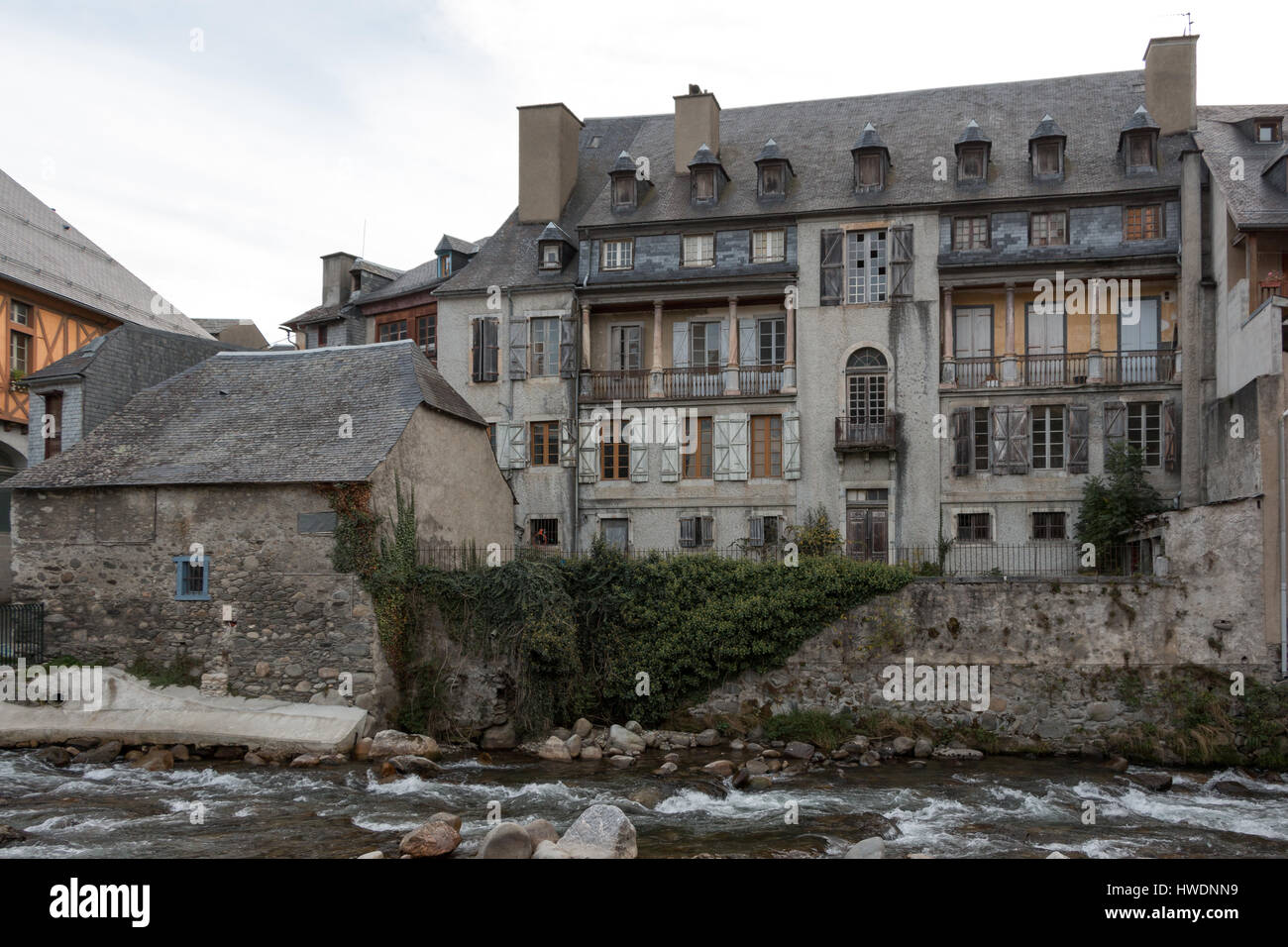 The commune of Arreau in France in the Pyrenees Stock Photo