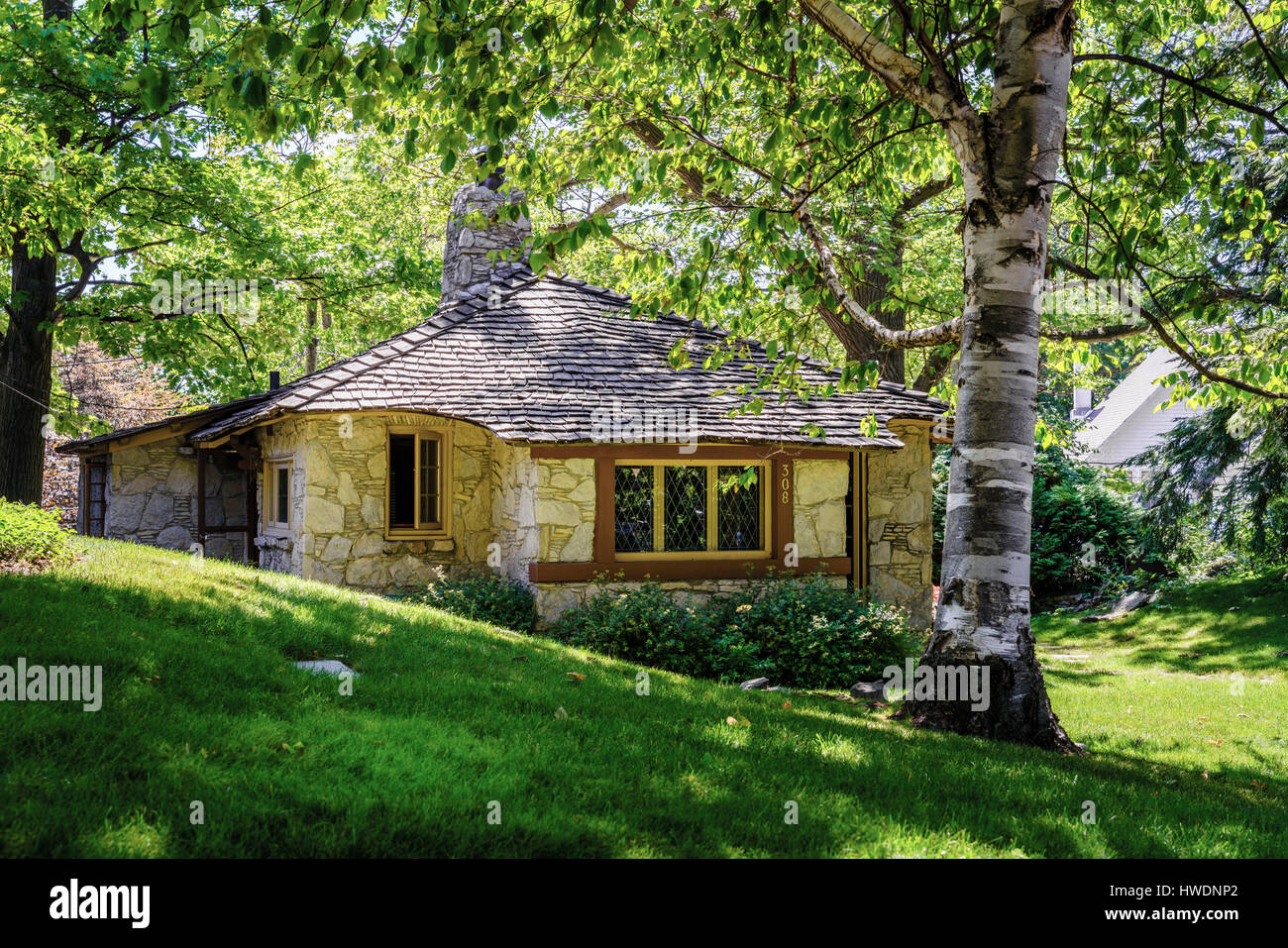 Charlevoix, Michigan, August 8, 2016: one of the unique 'hobbit homes' that serve as a local attraction - Stock Image