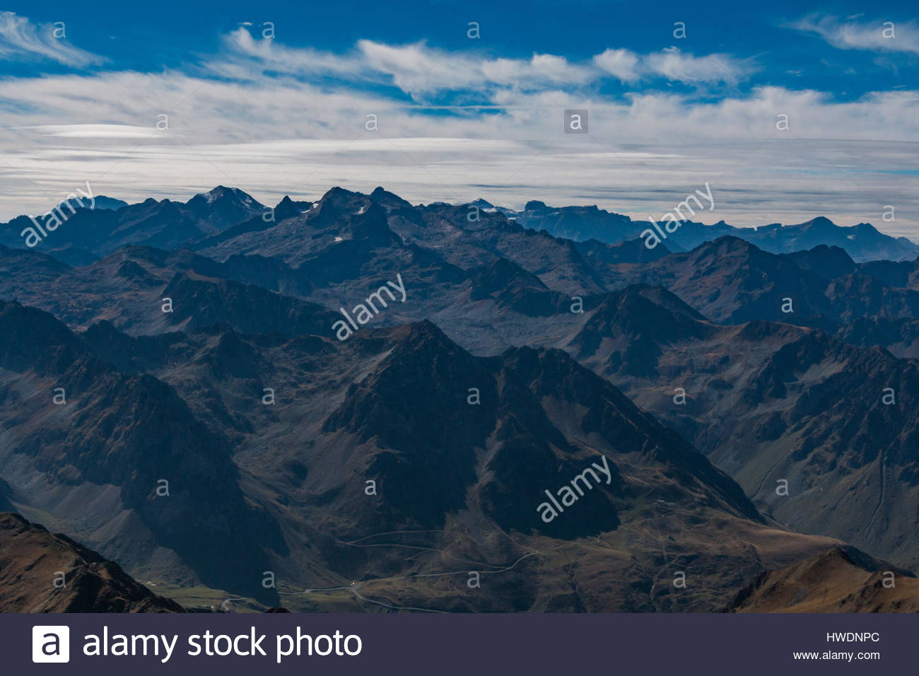 The Pyrenees as seen from Pic du Midi Stock Photo