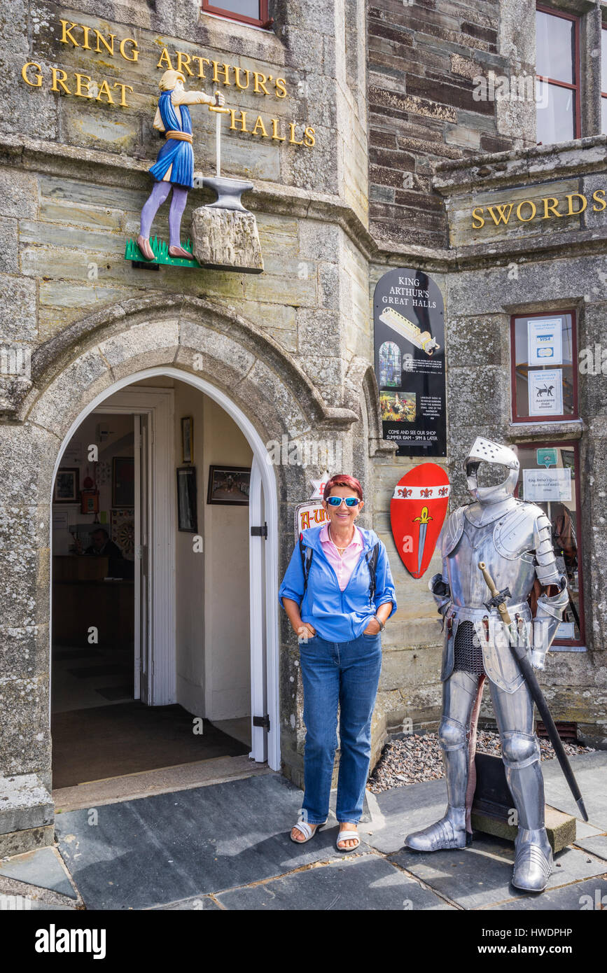United Kingdom, South West England, Cornwall, Tintagel, entrance to King Arthur's Hall, former headquarters - Stock Image